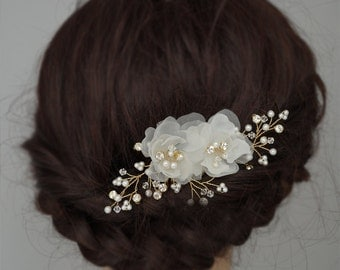Gold Wedding Headpieces, Silk Flower Hair Combs, Bridal Hair Combs Crystal Wedding Hair Accessories Flower Hair Clips in Off White and Ivory
