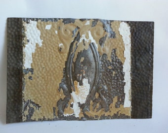 """Antique Salvaged Reclaimed Tin Ceiling Tile 12"""" x 17""""   Brown & White 2583-15"""