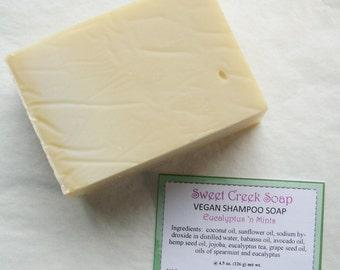 Vegan Hemp Shampoo Soap, Eucalyptus & Mints