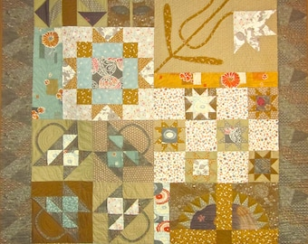 Patchwork Quilt - gray, gold and aqua Japanese Print Party