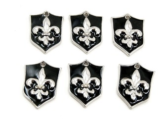 Black Enamel Shield Charms with Silver Plated Fleur de Lis and Swarovski Crystal Rhinestone Accents - 6 Pieces - Military, Medieval