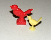 Vintage lot of Plastic Birds Red and Yellow Stand Ups Gumball Machine Prizes Great for Altered Projects