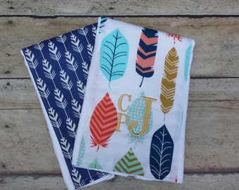 Monogrammed Boy Burp Cloth, Modern Burp Cloth, Boy Burp Cloth, Set of 2, Personalized, Baby Boy Gift,  Feathers, Baby Shower Gift