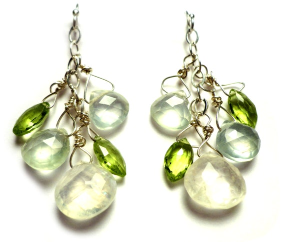 HONEYDEW  Moonstone Peridot Prehnite Briolette Sterling Silver 1-7/8 inches Dangle Earrings S335