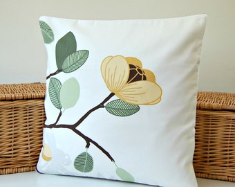 16 inch flowers floral leaves cushion cover, 40 cm grey green brown mustard yellow decorative pillow cover