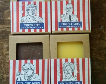 The 4 Presidential Candidates Soap by Fleegal Farms. Palm free soap made from natural ingredients inspired by chaos and political upheaval.