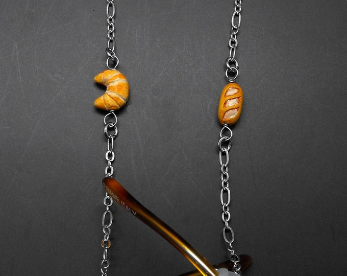Cook's Baker Eyeglass Chain Croissant Baguette Chef Glasses Holder Eye Glass Lanyard