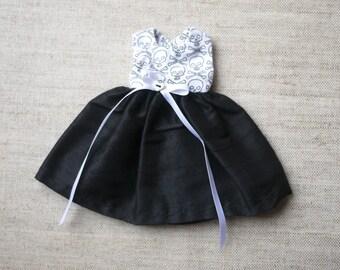 Blythe Dress - Skulls and Black Silk