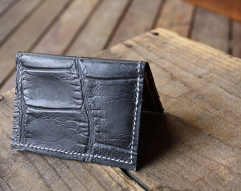 folding card wallet: black croc embossed with legacy leather