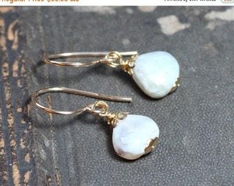 On Sale Opal Earrings Gray Cloudy White Earrings Gold Rustic Jewelry Peruvian Opal