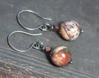 Rainbow Rhyolite Earrings Multicolor Gemstone Sterling Silver Burnt Orange Green Gemstone Earrings Rustic Jewelry