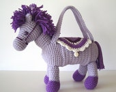 Lavender Purple and White Pony Crochet Purse Tote for Young Girls