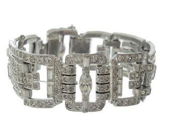 Antique Bracelet Art Deco Link, 1920s Deco Statement Jewelry, Vintage Rhinestone Bridal Jewelry, Art Deco Jewellery
