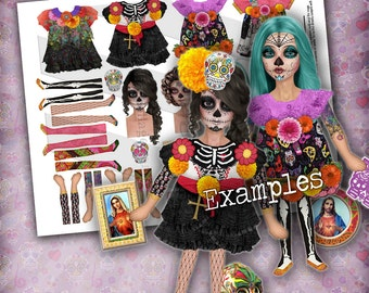 Sugar Skull Dolls, Printable Art Dolls, Paper Doll, Digital Collage Sheet, Decoupage Paper, Art Journaling, Junk Journals, Printable Sheet