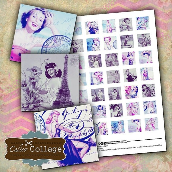 Sassy PinUps Digital Collage Sheet 1x1 Inch Inchies 1950s Pin-Up Ladies Decoupage Paper Pendant Images Calico Collage Graphics Summer Images