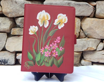 Hand Painted Raspberry Vinyl Notebook with Yellow Iris and Pink Daisies