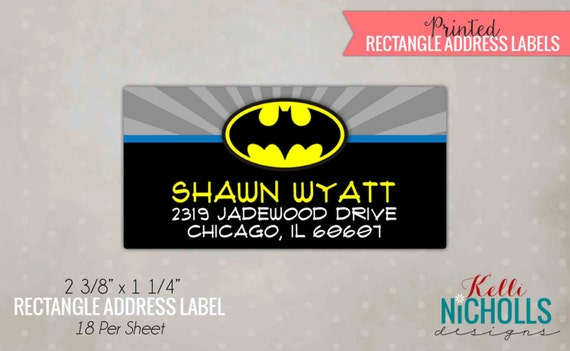 Batman Rectangle Return Address Labels Custom Superhero