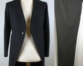 ON HOLD Vintage 20s Morning Suit XS S Frock Jacket and Striped Pants R. Score & Son