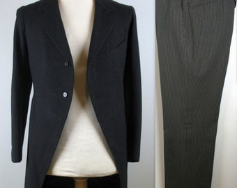 Vintage 20s Morning Suit XS S Frock Jacket and Striped Pants R. Score & Son