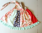SALE 40 off RTS SIZE 4 Ready to Ship Sophia Halter Tunic, 4th of July Girl Dress, Patchwork Red White and Blue Dress, Summer Sundress