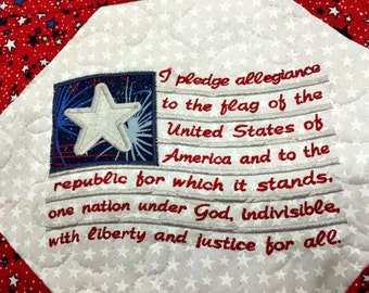 Quilted PATRIOTIC Table Runner . . . Embroidered Pledge of Allegiance  . . . red, White and Blue . . . Celebrate with a Little  SPARKLE