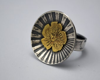 Etched Flower illusion ring - sterling silver and brass ring - mixed metal ring