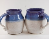 Large Pottery Mug , Perfect For The Beach,Curly Handle Serving, Purple Grape With White Glazes
