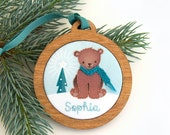 Christmas Personalized Holiday Ornament Hand Embroidered Woodland Bear Custom Holiday Keepsake for 2016