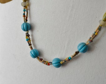 Antique Trade Bead Short Necklace With 4 Bohemian Melon Beads