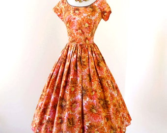 vintage 1950's dress ...staple JERRY GILDEN of New York tangerine floral cotton shelf-bust full skirt pin-up bombshell dress m l