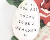 PREGNANCY ANNOUNCEMENT To GRANDPARENTS, Hand Stamped Spoon, Pregnancy Reveal to Grandparents, Gift For Grandma, New Grandma Gift