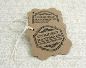 Craft tags - Uniquely handmade tags - Etsy shop tags - Product tags - Merchandise tags - Set of 25 Strung tags