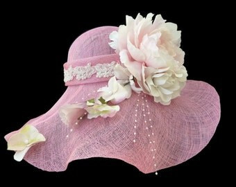 "Women's Kentucky Derby Hat, Downton Abby Style Straw Hat, Wedding Party Hat, Spring Fashion Hat in Pink - "" JARDIN ROMANTIQUE"""