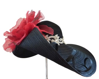 "Kentucky Derby Hat, Downton Abby Style, Garden and Tea Party Hat, Spring Fashion Hat in Black, Red and Bling - ""Stunning on Sloane Street"""