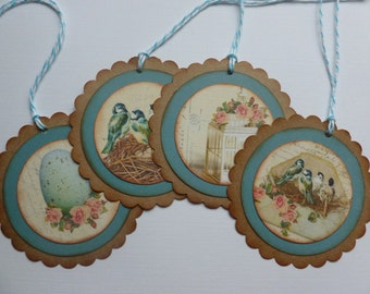Bird gift tags vintage style antique bird cage bird egg pink roses nature themed tags vintage inspired spring - set of 8