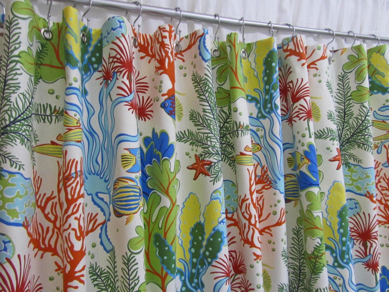 Beach Fabric Shower Curtain Ocean Theme Shower Curtain Blue