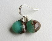 Green and Brown Chrysoprase Dangle Earrings