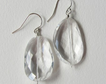 Wedding Earrings -Clear Rock Crystal Quartz and Sterling Silver - Rose Cut Asymmetrical Stones Made in Seattle - Mother of the Bride Bridal