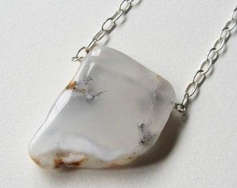 White Agate Necklace with Sterling Silver Chain