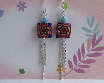 Millefiori Glass Tassel Earrings, Swarovski Crystal Turquoise Blue, Dangle Silver Chain, Boho Jewelry