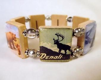 ALASKA - DENALI WILDLIFE Jewelry / Scrabble Bracelet / Vintage Art / Unusual Gifts / Handmade