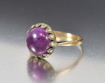 Amethyst Diamond Paste Antique Victorian Ring, Victorian Engagement Ring, English Antique Gold Ring Victorian Ring Birthstone Stacking Ring