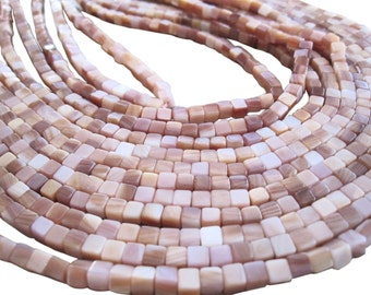 Pink Mother of Pearl Beads, 4mm cubes, Mother of Pearl, SKU 3337