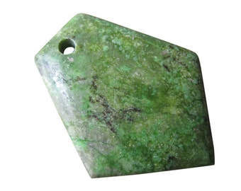 Green Turquoise Pendant, Polygon Shape, 33mm x 43mm, SKU 4826