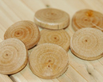 Birch wood buttons - 7 pc. set