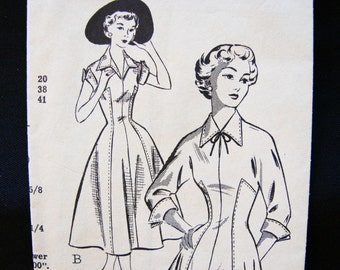 1950s Dress Pattern Misses size 10 Womens Princess Seam Full Skirt Dress Vintage Sewing Pattern