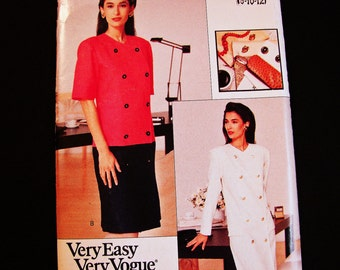 80s Double Breasted Dress Pattern Misses size 8 10 12 Vogue Pattern UNCUT Shift Dress Sewing Pattern