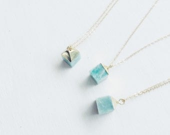 The Ali Necklace: Amazonite Cube Crystal Pendant, Gold Layering Necklace