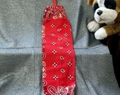 Plastic Bag Holder Sock, Red Paisley with Squares Print