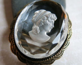Vintage Original by Robert Cameo Intaglio Brooch, Clear Glass Crystal Cameo Pin Pendant, Classic Glass Cameo, Victorian Style Cameo Brooch